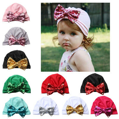 Infant Baby Turban Toddler Kids Girl Cotton Blends Sequin Hat Lovely Soft Hat