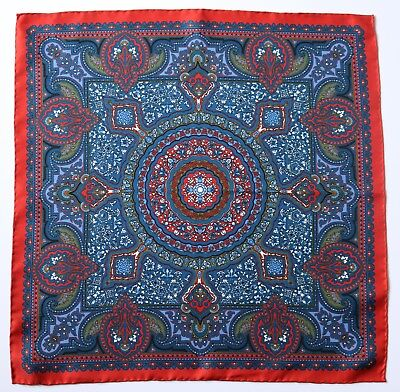 Silk Pocket square Red, blue & white ornate print 42cm. Hand rolled