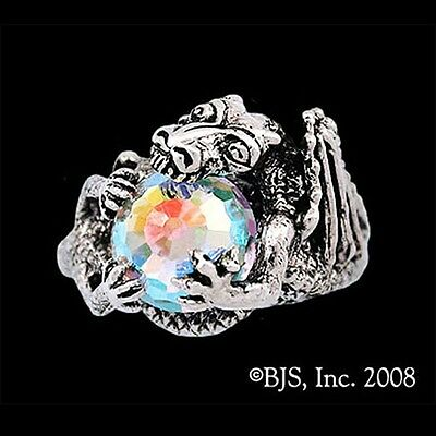 THE HOBBIT Official SMAUG Dragon RING, Sterling Silver Swarovski Arkenstone LOTR
