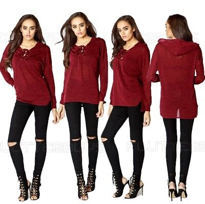 Womens Red Winter Top Lace Up Hooded Jumper Shirt Blouse Sexy Size New Ladies