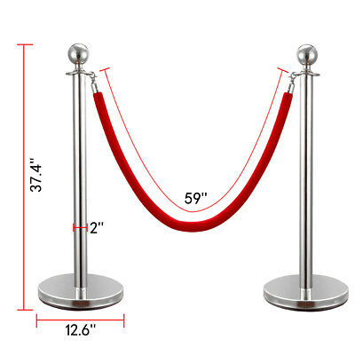 Christmas 6 PCS Silver Stanchion Post Polished Steel Queue Barrier Rope/Belt Set