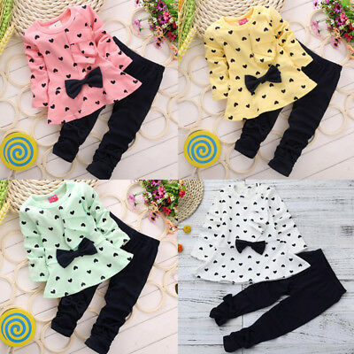 2PCS Outfits Newborn Toddler Infant Kid Baby Girl Bow Tops T-shirt+Long Pants CU
