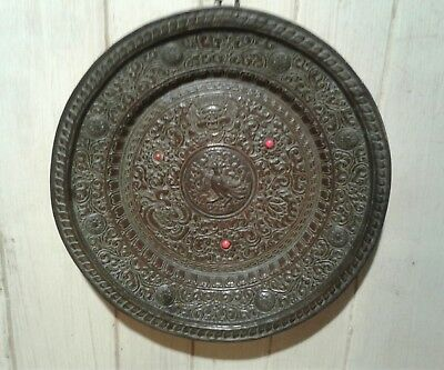 Antique Tibetan hand worked copper repousse decorated tray