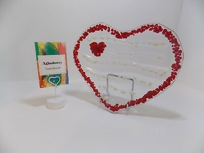 Fused Glass Art, Heart shaped concave dish, Romance. Valentine's Day Gift, Love.