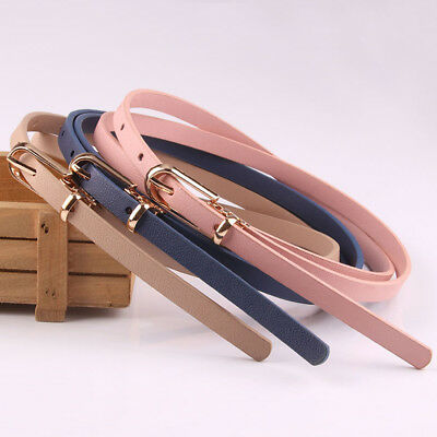 Women Ladies Thin Skinny Leather Waistband Dress Sweater Belt Clothes Acces