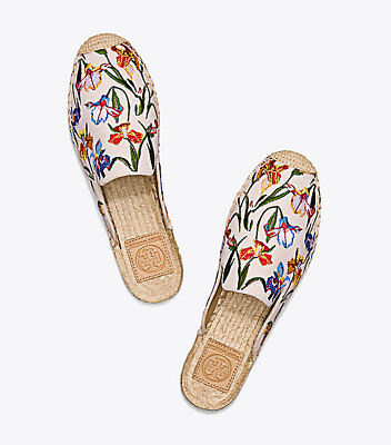 158919521b0b4e Tory Burch Max Embroidered Espadrille Slide Mules Women sz 10 Ivory Floral