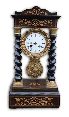 Marquetry Inlaid French 19th Century Portico Clock Complete with Key