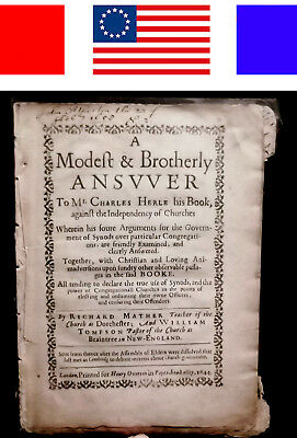 1644 RICHARD MATHER NEW-ENGLAND CHURCH bay psalm book Bible cotton witch trials
