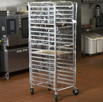 "Heavy Duty 63"" Clear 14 Mil Plastic Restaurant Baking Bun Pan Dough Rack Cover"