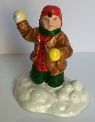Dept 56 Snow Village Boy Throwing Snowballs Figurine