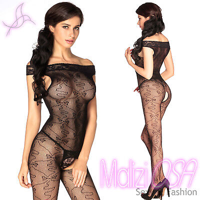 Catsuit Bodystocking Tutina Sexy nera aperta Hot lingerie completo intimo
