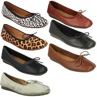 Details about Ladies Clarks Comfort Everyday Casual Flats Dolly Shoes Freckle Ice