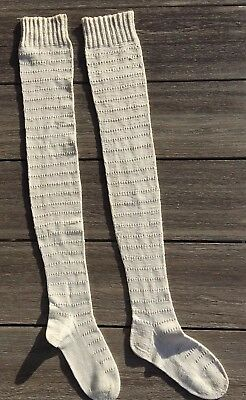 Victorian Primitive Hand Crocheted Knit White Pr Cotton Stockings Christmas 1900