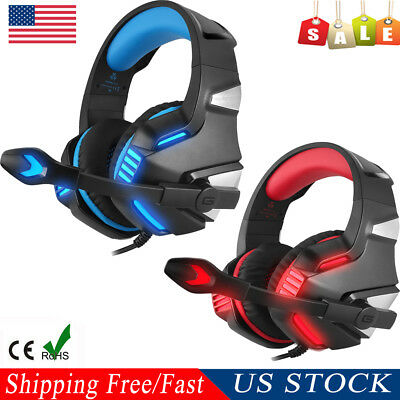 Gaming Headset Stereo Noise Cancelling Bass Surround for PC PS4 Xbox ONE w/Mic