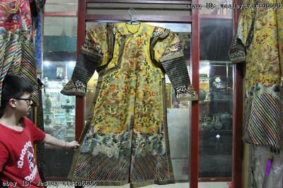 Chinese Old Dynasty Palace embroidery silk cloth Nine Dragon Emperor robe Robes