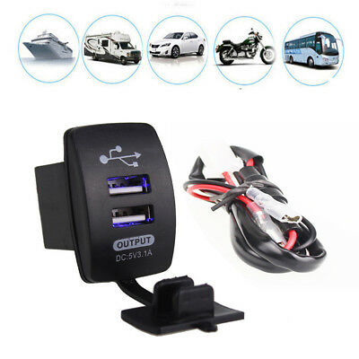 3.1A Dual LED USB Car Auto Power Supply Charger Port Socket Waterproof 12-24V D