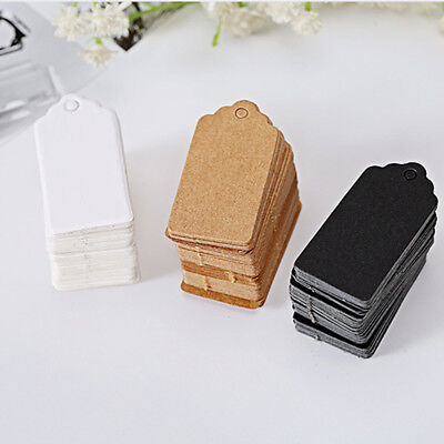 100 Pcs Kraft Paper Gift Tags Wedding Scallop Label Blank Luggage Tag 4*2cm UK