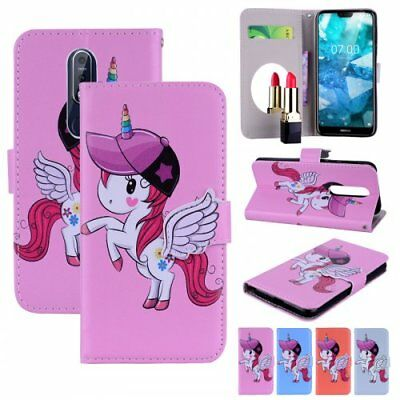 For Nokia stand wallet Unicorn  Phone case cover mirror built in magnetic stand