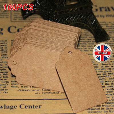 100x vintage Kraft Paper Gift Tags Scallop Label Wedding Blank Luggage Tag