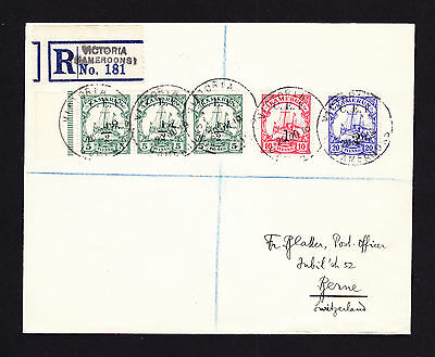 1919 CEF British Occupation Kamerun German Yacht stamps on regd cover to Swiss