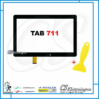 Vetro Touch Screen NERO per Tablet 10.1 Majestic Tab 711 con Biadesivo
