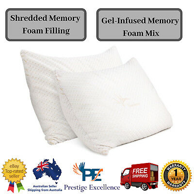 Memory Foam Pillow King Bamboo Set Gel Infused Twin Pack Adjustable Thickness 2X
