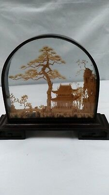 Vintage Chinese Oriental Diorama Carved Cork Art Pagoda Nature Black Case Glass