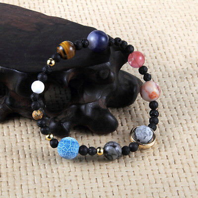 Ladies Nine Planets Of Solar System Stone Beaded Bracelet Women Jewelry