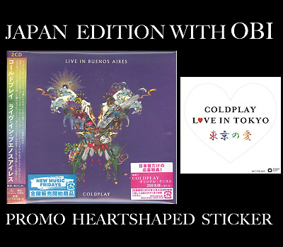 """PROMO STICKER + JAPAN EDITION LIVE 2x CD! COLDPLAY """"LIVE IN BUENOS AIRES"""" 2018"""