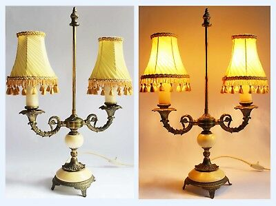 """Vintage 22"""" 'Bouillotte' Candlestick 2 Bulb Table Lamp Light & Choice of Shade"""