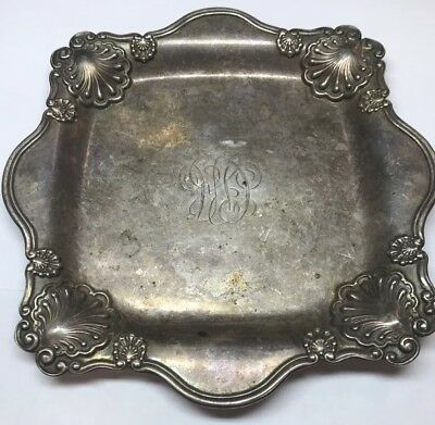 "Tiffany & Co Sterling Silver 925 Square Dessert Sandwich Plate 6-3/8"" w/Monogram"