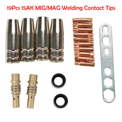 19Pcs MB 15AK MIG/MAG Welding Contact Tips 0.8x25mm M6 Gas Nozzle Holder Shroud