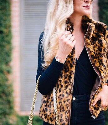 66be6983a286 $298 J CREW Faux Fur Leopard Jacket Coat Small S Sold Out J. Crew ...