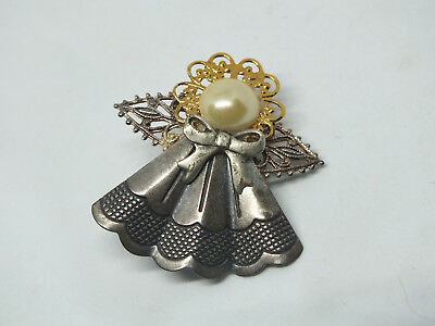 Beautiful Brooch Pin Gold Silver Tone Angel Filigree Faux Pearl Cabochon 1 1/2""