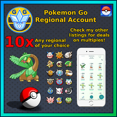 Pokemon Go Regional Account - Chatot/Pachirisu/Carnivine - 10 x Any Regionals!!