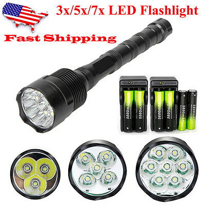 150000LM Tactical 3/5/7x LED T6 LED Flashlight Torch Lamp &18650 Battery+Charger
