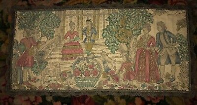 "ANTIQUE VINTAGE TAPESTRY Victorian Couples Scene 12"" x 24"" Metallic Trim"