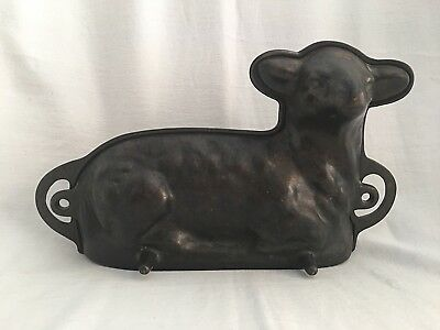 "Vintage Cast Iron Lamb Chocolate/ Cake Mold Baking 3D Pan 14.5"" x 8"""