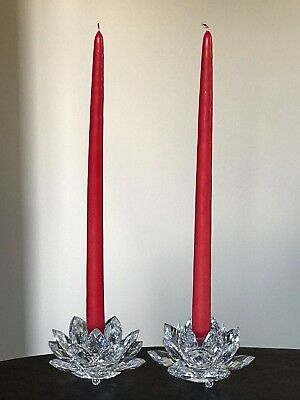 """Swarovski Large Water Lily / Waterlily / Lotus Candle Holders Free14"""" Candles 2"""