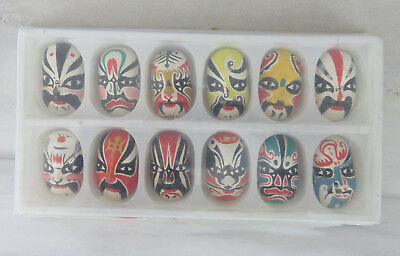 Chinese Miniature Opera Face Mask Pins Box Set of 12