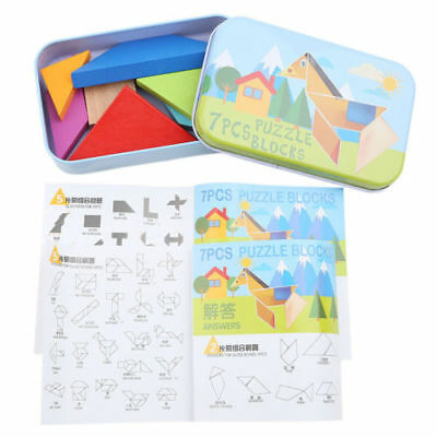 Funny Toy for Baby Tangram Wooden Jigsaw Puzzle Brain Developmental as a Gift LV