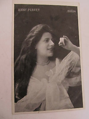 Antique french postcard Glamour Lady ANNY PERRET writing on rear used 1907