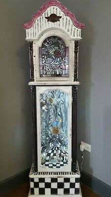 Alice In Wonderland Upcycled Grandfather Clock Stained Glass