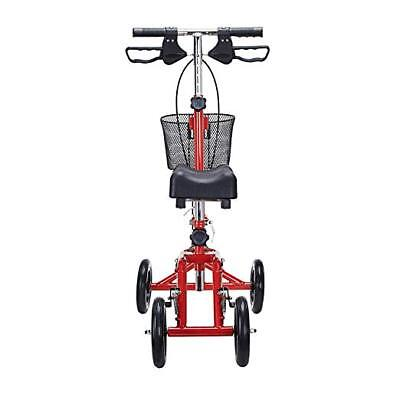 CO-Z Steerable Knee Walker Scooter - Double Brakes Handle Folding Turning with B