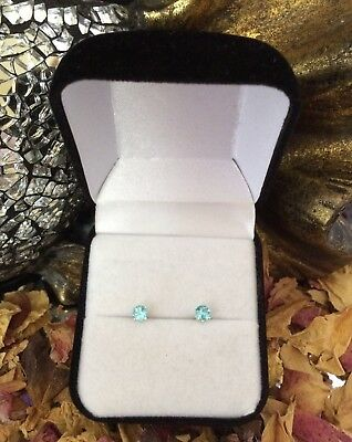 Stunning natural Tropical Blue Apatite 4mm sterling silver claw stud earrings 🏝