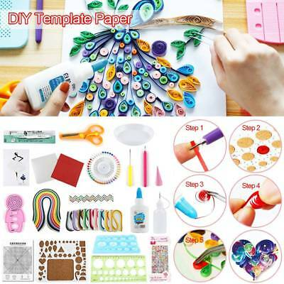 DIY Paper Quilling Craft Tool Slotted Template Board Mould Grid Needle Pen Set
