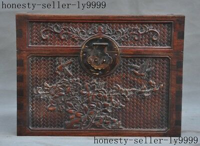old China huanghuali wood master hand carved Flowers and birds jewelry box case