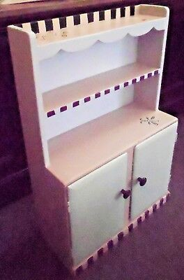 Vintage Solid Wood Childs Size Play Display Hutch Cabinet w Shelves Doors Paint