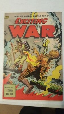 EXCITING WAR #6 ~ Classic Cover ~ FLAME THROWER BURNING MAN ~ 1952