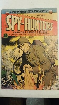 SPY-HUNTERS #18 ~ Classic FLAME THROWER Cover ~ 1952 ~ ACG Comics Group